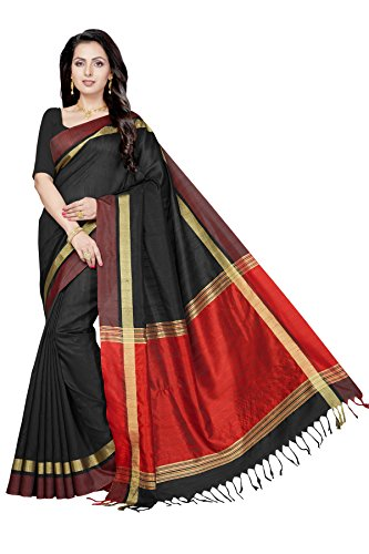 Rani Saahiba Women's Art Dupion Silk Zari Border Saree ( GRM6_Black )