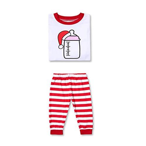 Bornbayb Little Boys Mädchen roten Streifen Weihnachten Pyjama Sets Baumwolle Familie passende Nachtwäsche 3-8 Jahre -