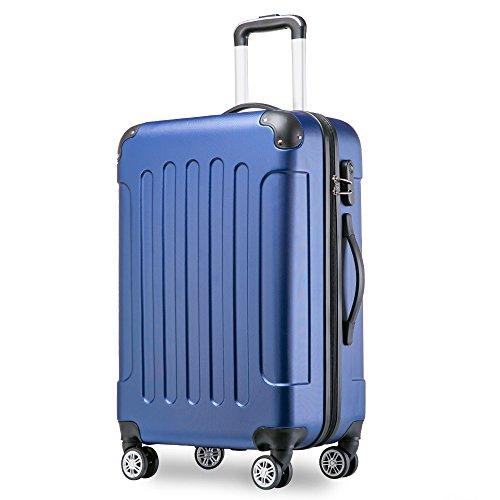 Flieks® Hartschale Trolley Koffer Reisekoffer Zwillingsrollen Reisekoffer mit Zahlenschloss Handgepäck mit 4 Doppel-Rollen, XL-L-M (M, Blau)