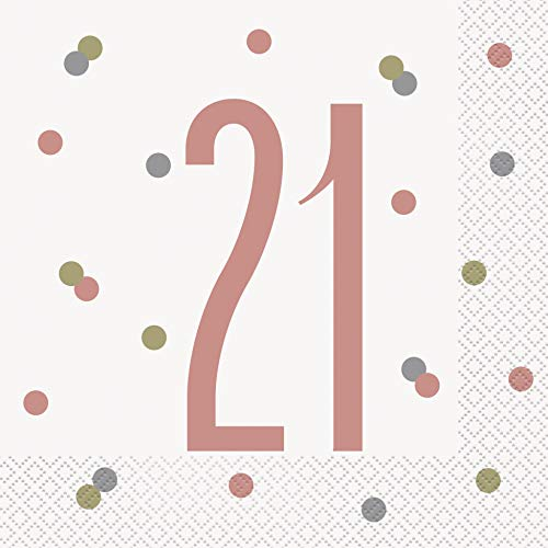 Unique Party- Servilletas de papel, Color oro rosa (84881)