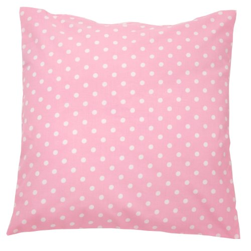 Sugarapple Kinder Kissenbezug 50cm x 50cm mit Reißverschluss, Kissen Bezug aus 100% Öko-Tex Standard 100 Baumwolle, ideal als Bezug für Dekokissen, Sitzkissen oder Kopfkissen, Punkte rosa