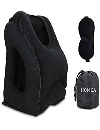 Almohadas de viaje, HOMCA Multi-funcional inflable almohadilla de siesta cómodo cojín de viaje con máscara de ojo para aviones, coches, autobuses, trenes