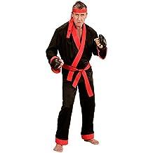 Widmann 73992–Adultos Disfraz Kick Boxer, Superior, pantalones, cinturón, cinta de cabeza y guantes de boxeo