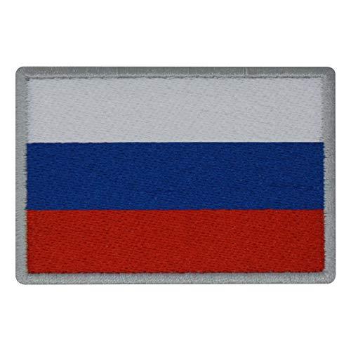 FanShirts4u Aufnäher - Russland - Fahne - 8 x 5,5cm - Flagge Wappen Bestickt Patch Badge Russia (Silberne Umrandung) Wappen-patches