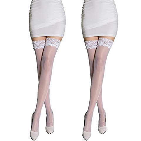 MANZI Women's Ladies Hot Sexy Anti-fall Non-slip Silicone Lace 20 Denier Ultra Sheer Top Stay Ups -Thigh High Stockings White-M