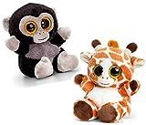 pabuTEL-Bundle 2er-Set Animotsu Giraffe und Gorilla Kuscheltier Plüschtier | mit strahlenden glubschi Augen | 15cm hoch mit Granulatfüllung 155g