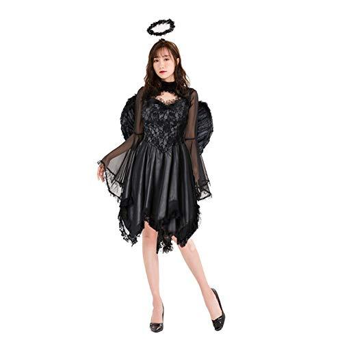 Dark Kind Kostüm Angel - Damen gefallen schwarz Engel Kleid Dark Angel Phantasie Outfit Kost¨¹m Erwachsene Kost¨¹me Ghost Bride Dead Ghost Devil Halloween Kinder Hexe Maskerade Damen Cosplay Colthes