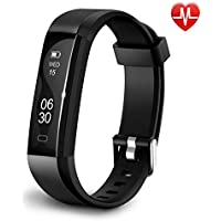 Qualis Fitness Activity Tracker, Heart Rate Monitor Watch, Step Counter Wristband, Sleep Monitoring Pedometer, Waterproof Calorie Counter, New Black Smartwatch for Kids Women & Men