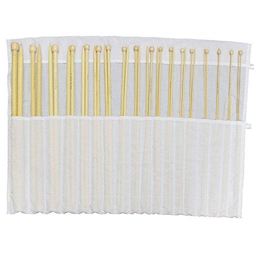 32 Bambus-Stricknadeln mit einseitiger Spitze - 16 Paar hölzerne Stricknadeln (34cm) - Größen: 2 mm bis 12 mm in einer Aufbewahrungstasche aus Baumwolle. Perfekt für Anfänger & erfahrene StrickerInnen von Curtzy