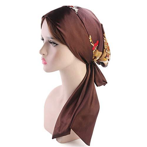 CHIRORO Damen Drucken Kopftuch Long Tail Turban Hut Muslimischer Bandana Chemo Cap Stirnband Headwrap Kopfbedeckung Für Krebs, Haarausfall, Schlaf, (Damen Hüte Piraten)