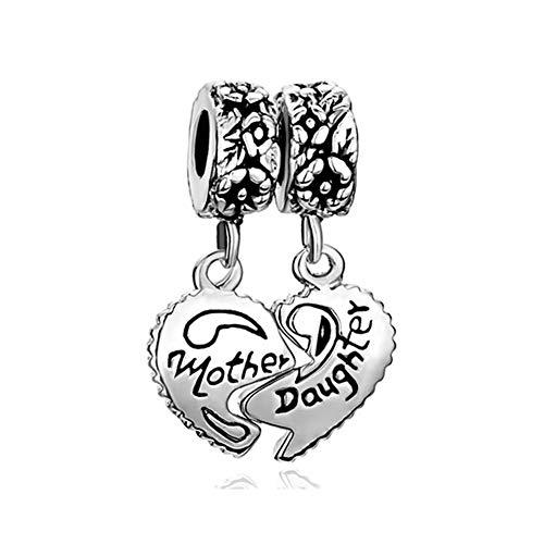 PoeticCharms Herz Liebe Mutter Tochter Sterne Mond 925 Sterling Silber Perlen Charm für Armbänder