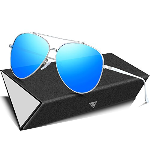 SIPLION Herren Pilotenbrille Polarisierte Sonnenbrille 8002-Blue