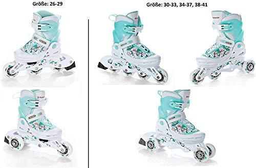 Raven 2in1 Inline Skates Inliner Triskates Laguna White/Mint verstellbar Größe: 26-29 (16cm-18,5cm)