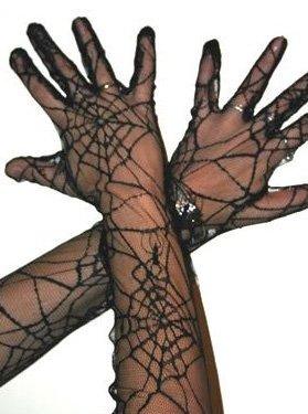 300017 Spider Handschuhe Spinnennetz, Hexe, Spinne
