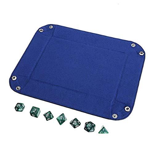TuToy Tragbares Fold Dice Tray Pu-Leder Mit 7 Polyhedral-Würfel Für Tabletop Dice Games - Grün