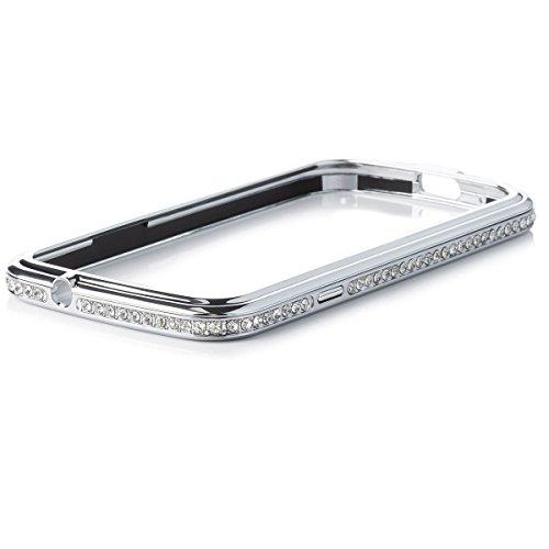 Apple iPhone 5C | iCues Aluminium strass or voiture | [Protecteur d'écran inclus] Glitter Glitter Strass luxe bling dames femmes filles Chrome CNC en aluminium Aspect métallique de protection de la pe argent