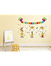 Solimo Wall Sticker for Kid's Room (Don't Miss the Giraffe Dance, Ideal Size on Wall - 54 cm x 38 cm)
