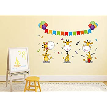 Amazon Brand - Solimo Wall Sticker for Kid's Room (Don't Miss The Giraffe Dance, Ideal Size on Wall - 54 cm x 38 cm)