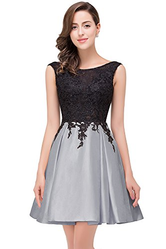 MisShow Damen Hinten-V-Rückenfrei Taft-Satin Kurz Partykleider Ballkleid Abendkleid Silber Gr.42