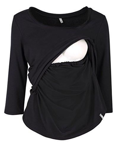 Be! Mama Stillshirt, Stilltop, SchwangerschaftsShirt , Modell: MAYCI - lang- oder kurzärmlig! Schwarz/Langarm