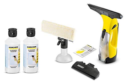 Kärcher Akku Fenstersauger WV 5 Premium inkl. Zubehör & wechselbarer Düse, Fensterreiniger mit entnehmbarem Akku und 2 Absaugdüsen (schmal/breit) + (Inkl. 2x Glasreiniger RM500)
