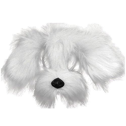 Bristol Novelty em358Shaggy Hund Maske mit Sound auf Haarreif, weiß, One ()