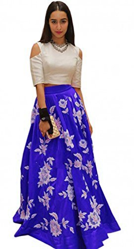 Nine Street Store Women's Cotton Lehenga Choli (Aaro Colors_Blue_Free Size)