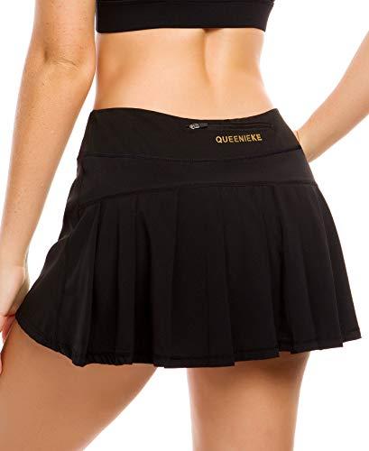 QUEENIEKE Damen Ultra Rock mit sportlichen Shorts Gym Sports Tennis Rock Farbe Schwarz Größe S