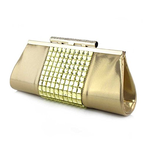 Ladies'handbag Borsa A Tracolla Ragazza Borsa Da Sera Di Diamanti Vernice Signore Gold