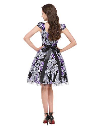 GRACE KARIN 50s Vintage Rockabilly Kleid Partykleider Petticoat Kleid CL4598 CL4598-5