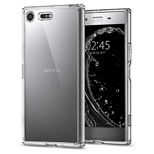 Spigen G10CS21969 Ultra Hybrid Sony Xperia XZ Premium Hülle Einteilige Transparent Durchsichtige PC Rückschale mit Silikon TPU Bumper Case Crystal Clear