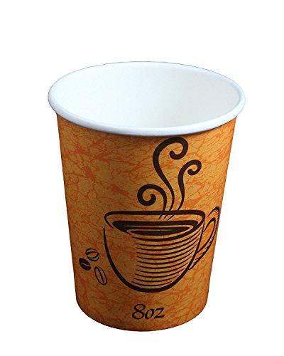 Einweg isoliert Papier Design Kaffee & Tee Hot Tassen + Rührlöffel (100Stück 8oz) (Einweg 12 Kaffee Tassen)