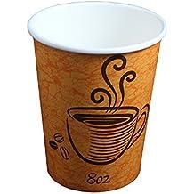Diseñado Café y té tazas calientes de papel desechables aislado + libre agitadores (Pack de 100(227g)
