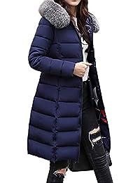 HANMAX Manteau de Coton Réversible avec Capuche Fourrure Fausse Doudoune  Femme Longue Hiver Chauden Duvet de f6191737d4a