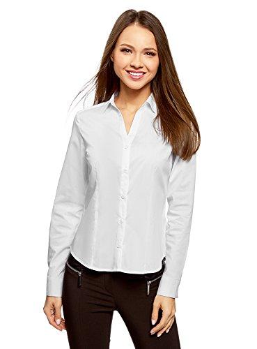 oodji Ultra Damen Hemd Basic mit V-Ausschnitt, Weiß, DE 38 / EU 40 / M