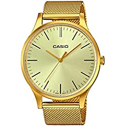 Casio Collection Reloj Analógico de Cuarzo Unisex con Correa de Acero Inoxidable – LTP-E140G-9AEF