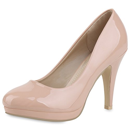 Damen Pumps Plateau Pumps High Heels Lack Stiletto Elegante Schuhe Nude Beige 37