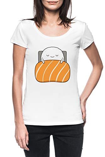 Assonnato Sushi Letto Donna Bianco T-Shirt Maglietta Maniche Corte Women's White T-Shirt