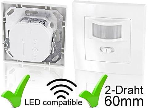 Unterputz PIR Bewegungsmelder 160° - für LED geeignet - 2-Draht Technik - Mindestlast nur 1W - passend für UP-Dosen Ø 60mm und Hohlwanddose Ø