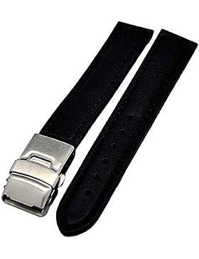 Uhrenarmband Glattleder Faltschließe 22mm schwarz Ton in Ton 4011