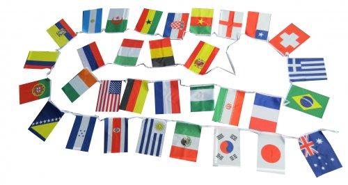 Flaggenkette Länderflaggen international 32 Länder Fahnen ca. 9 m Länge (Wimpel Fahnen)