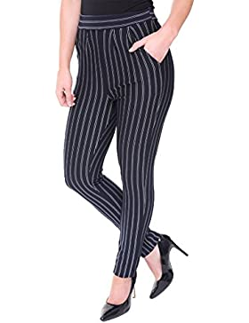 Islander Fashions Womens Pinstripe Elasticated Pantalones de cintura alta Ladies Fancy Party Wear Pants ES 32-40