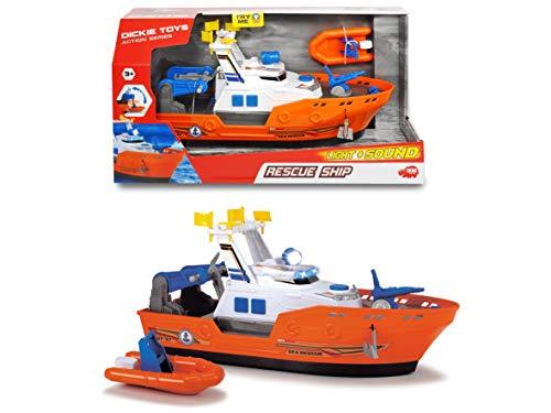 Dickie Toys 203308375 Harbour Rescue 203308375-Harbour, Rettungsschiff mit Licht & Sound, manuelle Wasserpumpe, 39 cm, Mehrfarbig -