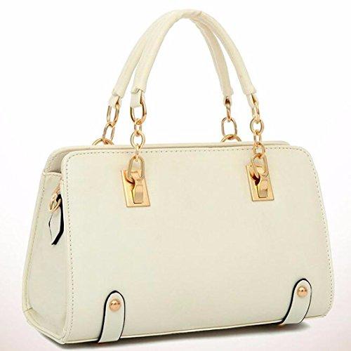 Frauen-Handtaschen-Schulter-Beutel-Taschen-Leder Quermuster Shapely Umhaengetasche nicht-gerade weiss