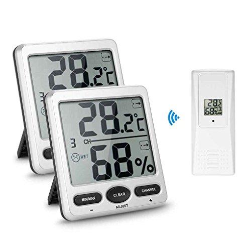 Mengonee 2 bis 1 Wireless Digital-Thermometer Humidometer Thermo-Hygrometer Konsole Receiver Remote Sensor Emitter im Freien Innen