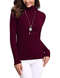 fe09c2e571 Abollria Womens Turtle Neck Long Sleeve Chunky Knit Ribbed Sweater Jumper  Knitwear Top