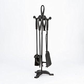 Inglenook, juego de 5 piezas para chimenea de hierro fundido negro cromado, peltre, latón, níquel. Herramientas para chimenea: cepillo, pala, pinzas, atizador, soporte. Accesorios perfecto para todas las habitaciones y chimeneas