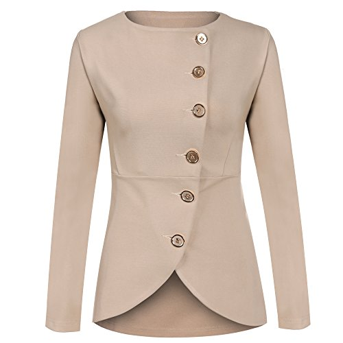 Meaneor Damen Knopf Business Jacke Blazer Übergangsjacke Military Jacke Slim Fit Mantel Reverskragen Asymmetrisch