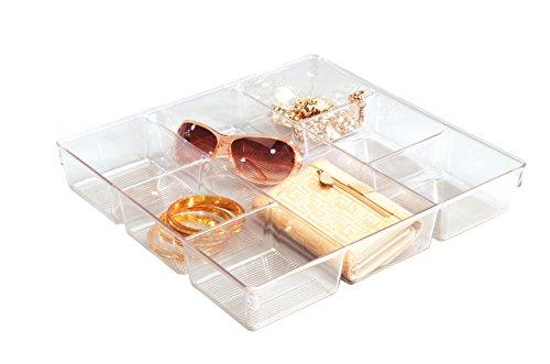 InterDesign Linus Schubladenbox für Schrank oder Schminktisch, 33,0 cm x 34,3 cm x 5,7 cm Aufbewahrungsbox mit 7 Fächern aus Kunststoff, durchsichtig Modular-box-system