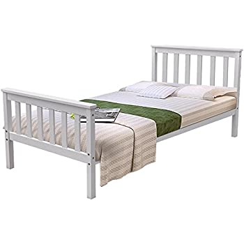 Pine Wood Single Bed Frame In White Solid Wood Bed Frames